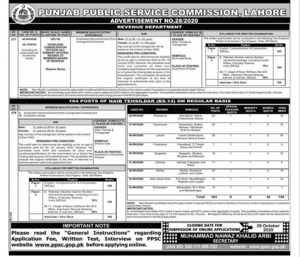 Tehsildar and Naib Tehsildar Jobs 2020 1
