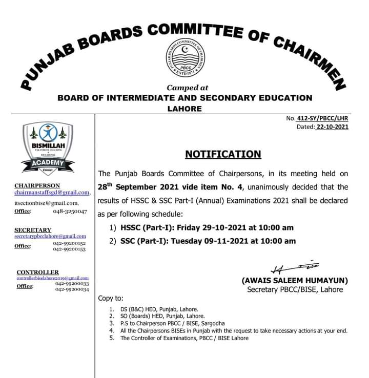 11th Class Result 2021 Lahore Board